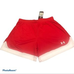 Under Armour red Maquina women's shorts Sz S & M